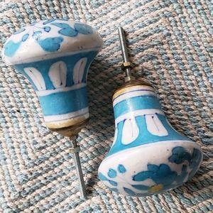 Blue Floral Doorknobs